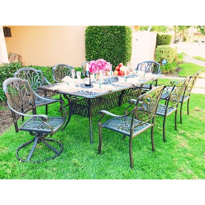 Nina Rectangular 9 Piece Metal Dining Set with Cushions