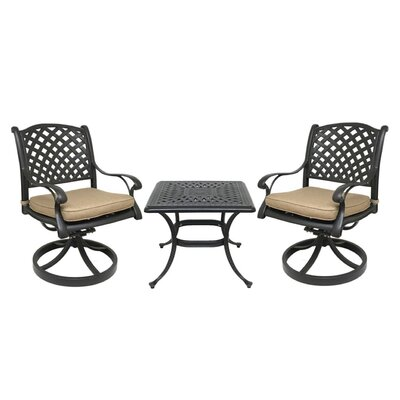Beadle 3 Piece Bistro Set with Cushions