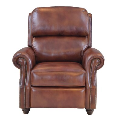 Farina Leather Push Back Manual Recliner Upholstery: Coffee
