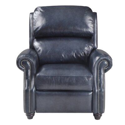Farina Leather Manual Recliner Upholstery: Navy