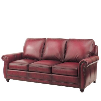 Farrier Leather Sofa Upholstery: Oxblood