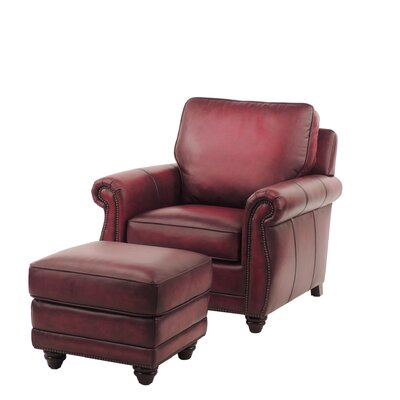 Farrier Leather Clab Chair And Ottoman Upholstery: Oxblood