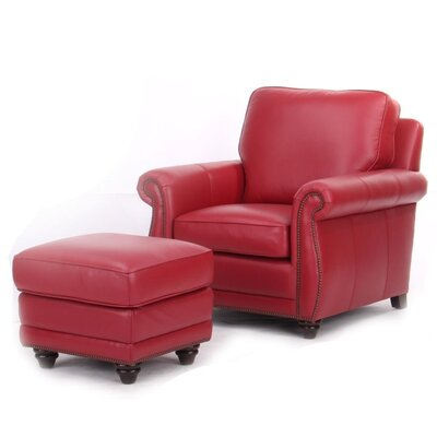 Farrier Leather Clab Chair And Ottoman Upholstery: Red