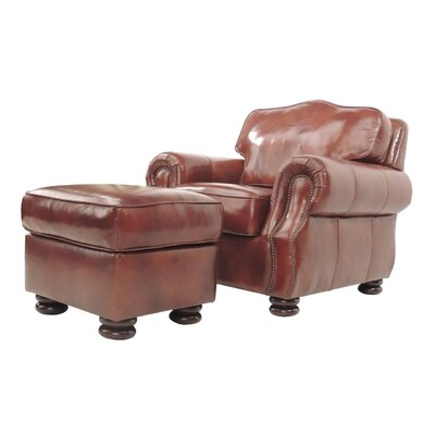 Brent Leather Club Chair And Ottoman