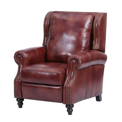 Whitley Leather Manual Recliner Upholstery: Brown