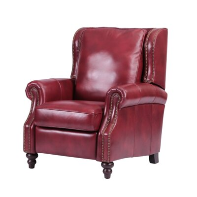 Whitley Leather Manual Recliner Upholstery: Red
