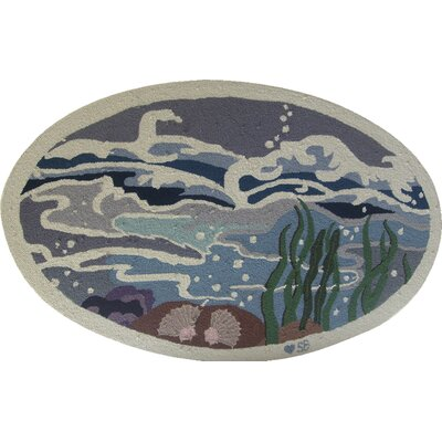 Nautical Octopus Garden Novelty Rug Rug Size: Oval 26 x 4