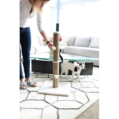 Sea Grass Scratching Post Size: 37.25 H x 16 W x 16 D, Color: Beige Fleece
