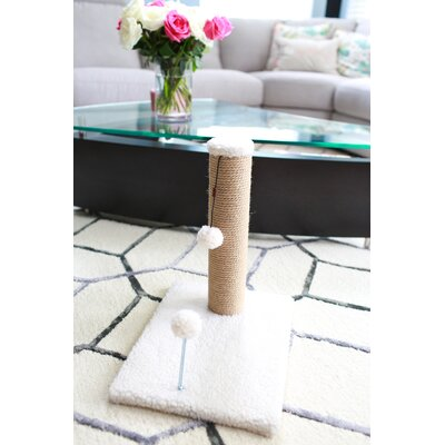 Jute Scratchers and Scratching Post Size: 21.25 H x 12 W x 16 D, Color: Beige