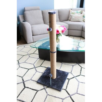 Jute Scratchers and Scratching Post Size: 41.25 H x 16 W x 16 D, Color: Gray