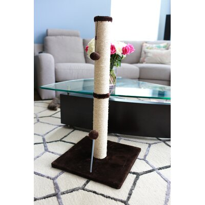Sisal Scratching Post Size: 31.25 H x 16 W x 16 D, Color: Dark Chocolate