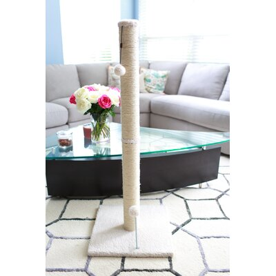 Sisal Scratching Post Size: 41.25 H x 16 W x 16 D, Color: Beige