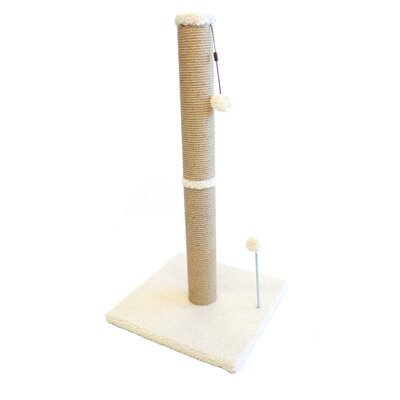 Jute Scratchers and Scratching Post Size: 37.25 H x 16 W x 16 D, Color: Beige