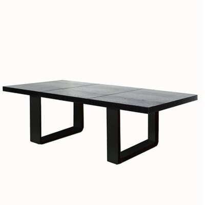 Leather Dining Table Color: Hair-on-Hide Black & White