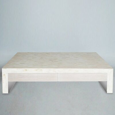 Bone Coffee Table with Drawers Drawer Color: Bamboo - Bleached