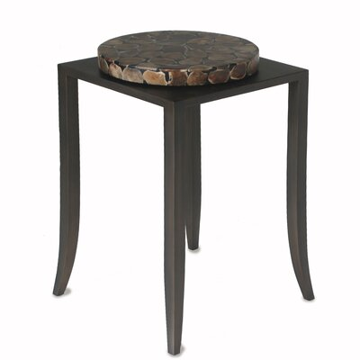 Shagreen End Table Base Color: Oak, Top Color: Ivory