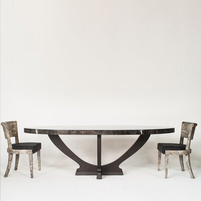 Dining Table Base Color: Ebony Makassar, Top Color: Papaya Husk - Black