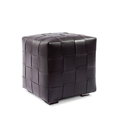 Leather Cube Ottoman Upholstery: Hair-on-Hide Black & White