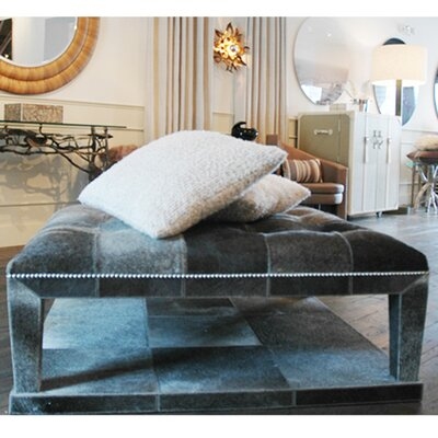 Leather Coffee Table with Magazine Rack Color: Crocodile Beige