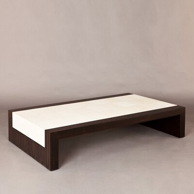 Coffee Table Base Color: Oak, Edge Color: Parchment - Bleached