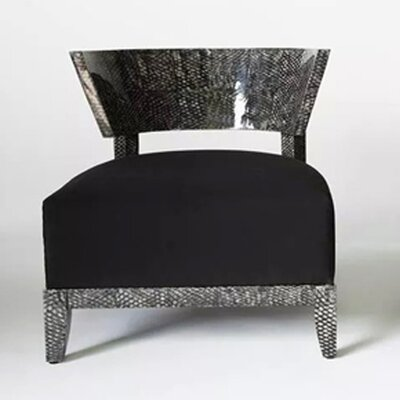 Fish Skin Lounge Chair Upholstery: Black, Finish: High Lacquered - Natural