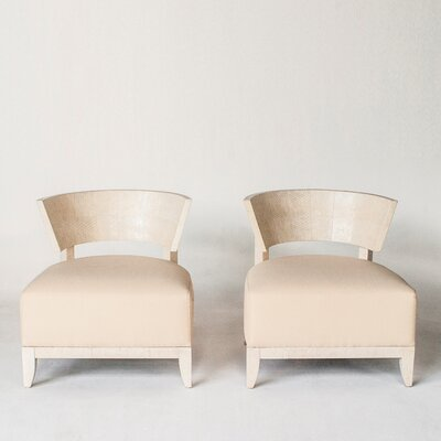 Fish Skin Lounge Chair Upholstery: Ivory, Finish: High Lacquered - Bleached