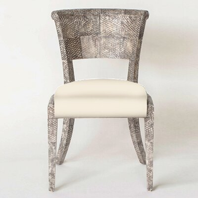 Fish Skin Slipper Chair Upholstery: Ivory, Finish: Bleached