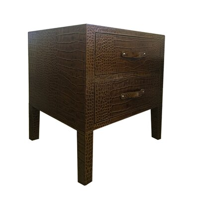 Leather 2 Drawer Nightstand Color: Crocodile Beige