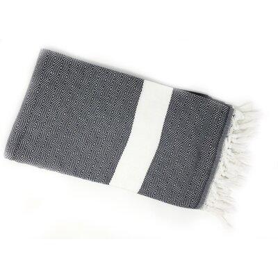 Striped Pestemal Turkish Beach Towel Color: Black