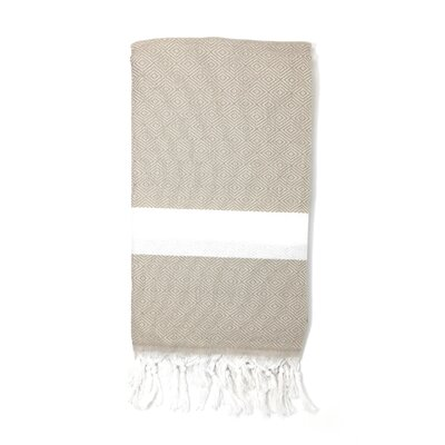 Striped Pestemal Turkish Beach Towel Color: Beige