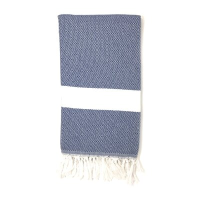 Striped Pestemal Turkish Beach Towel Color: Navy Blue