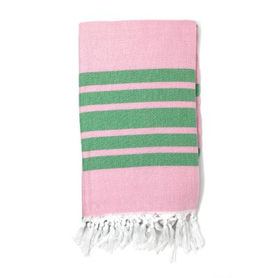 Luxury Pestemal Fouta Turkish Beach Towel Color: Pink/Green