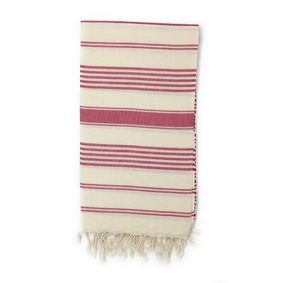 Striped Pestemal Luxury Beach Towel Color: Burgundy