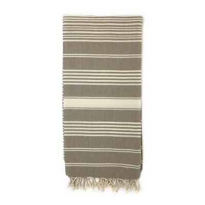 Striped Pestemal Luxury Beach Towel Color: Stone