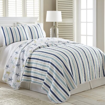 Bulmershe Stripe Cotton Reversible Quilt Set Size: King