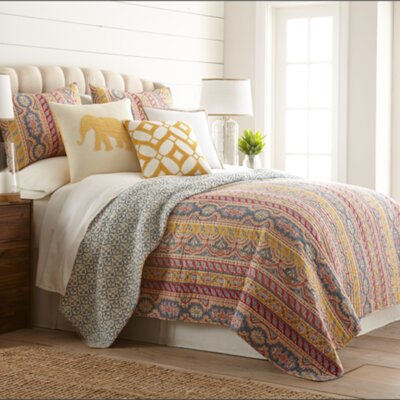 Fleurette Cotton Reversible Quilt Set Size: King