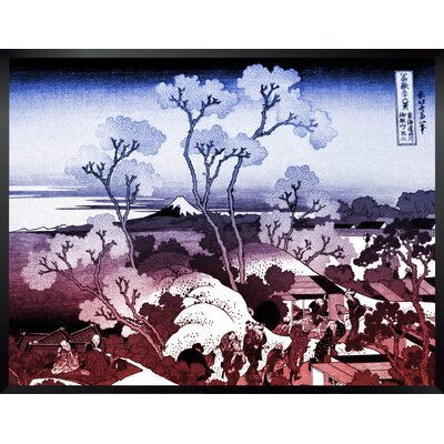 """'Mt. Fuji Through the Cherry Blossoms' by Katsushika Hokusai Framed Painting Print in Blue and Red Ombre Size: 18"""" H x 24"""" W BBMT3996 40428523"""