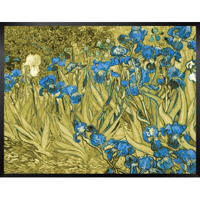 'Irises' by Vincent Van Gogh Framed Oil Painting Print in Blue and Yellow Size: 14