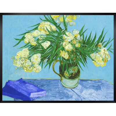 'Vase With Oleanders and Books' by Vincent Van Gogh Framed Oil Painting Print Size: 14