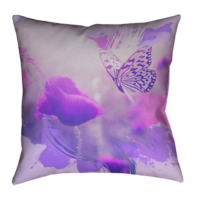 Elwyn Watercolor Butterfly and Rose Linen Pillow Cover Size: 18 x 18