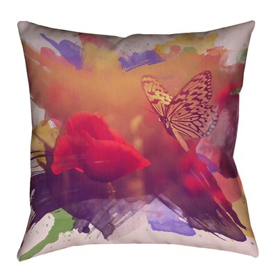 Elwyn Contemporary Watercolor Butterfly and Rose Square Zipper Pillow Cover Size: 18 x 18