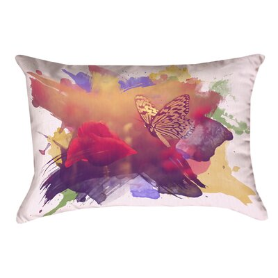 Elwyn Watercolor Butterfly and Rose Outdoor Lumbar Pillow