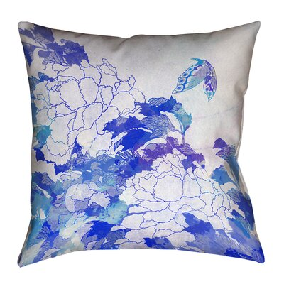 Raritan Watercolor Peonies and Butterfly Square Cotton Pillow Cover Size: 14 H x 14 W