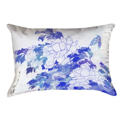 Raritan Watercolor Peonies and Butterfly Rectangular Cotton Throw Pillow