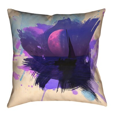 Houck Contemporary Watercolor Moon and Sailboat Square Pillow Cover Size: 14 H x 14 W