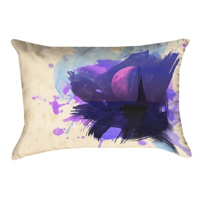 Houck Watercolor Moon and Sailboat Cotton Lumbar Pillow
