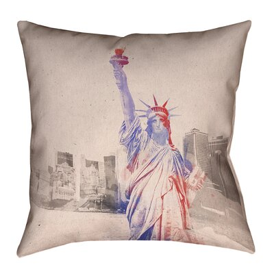 Houck Watercolor Statue of Liberty Leather/Suede Throw Pillow Size: 14 H x 14 W