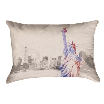 Houck Watercolor Statue of Liberty Rectangular Leather/Suede Throw Pillow