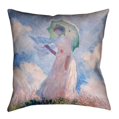 Elwyn Watercolor Woman with Parasol Print Zipper Throw Pillow
