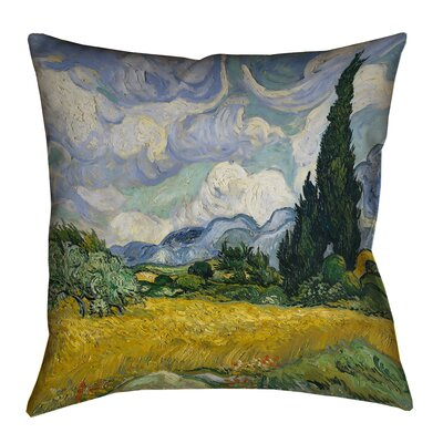 Woodlawn Wheatfield with Cypresses Cotton Pillow Cover Size: 18 H x 18 W, Color: Yellow